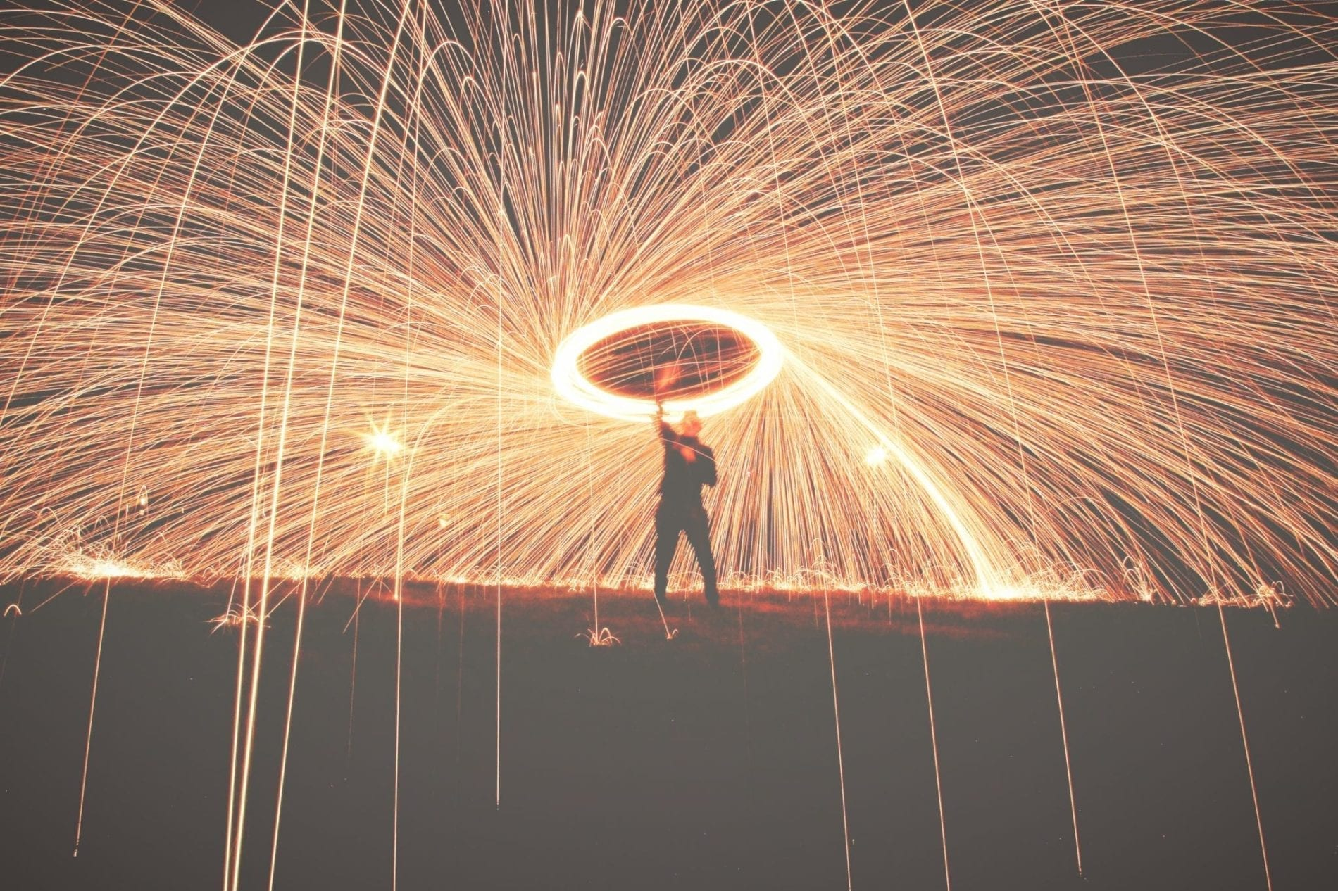 Rain of sparks from a sparkler